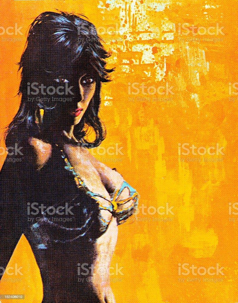 Shadowy Woman in Bikini Top royalty-free stock vector art