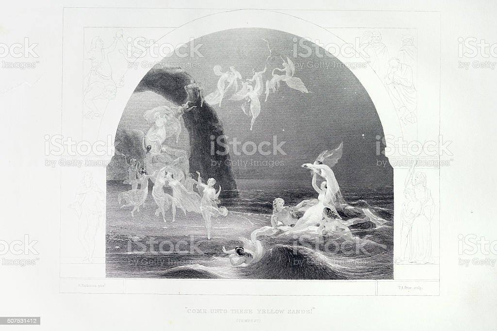 Shakespeare-The Tempest - ilustração de arte em vetor