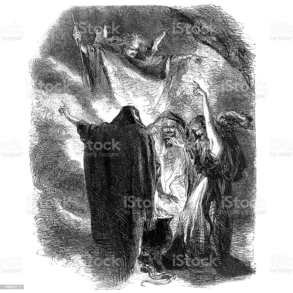 Shakespeare - Three Witches from Macbeth royalty-free stock vector art