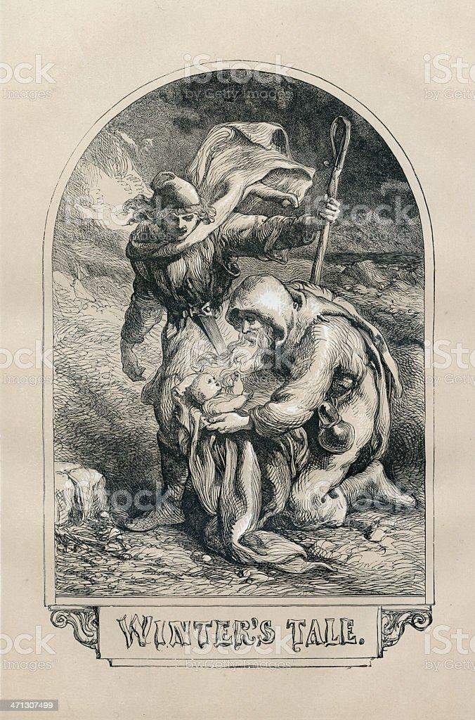 Shakespeare, Winters Tale, Engraving vector art illustration
