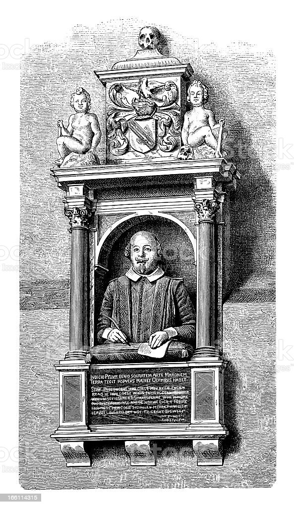 Shakespeare's Tomb - Antique Engraving royalty-free stock vector art