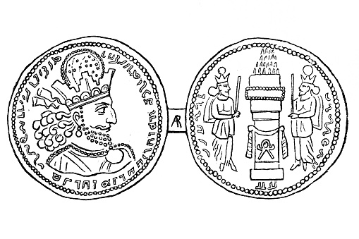 Shapur II coinage of Sindh. Such coins were minted in Sind, Baluchistan and Kutch in India