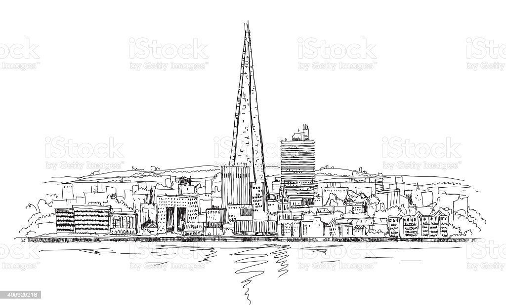 Shard of glass, London. Sketch collection vector art illustration