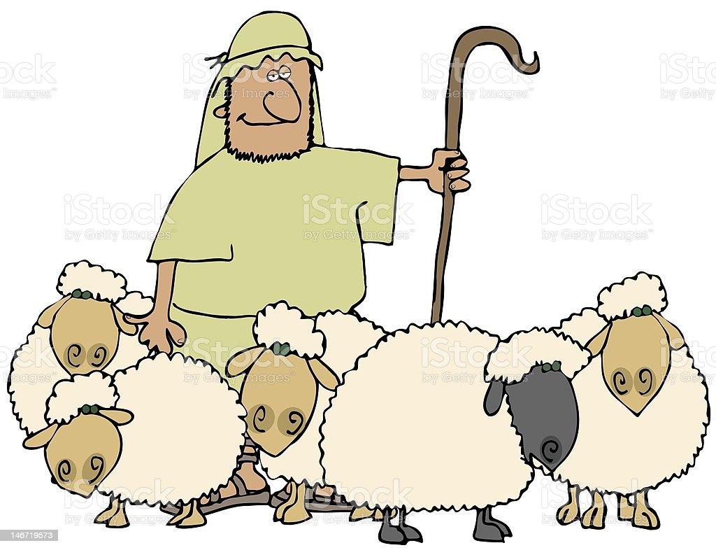 Sheep And Shepherd vector art illustration