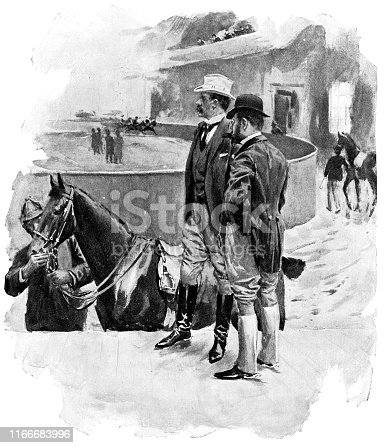 People at Sheepshead Bay Race Track in New York City, New York, USA. Vintage etching circa late 19th century.