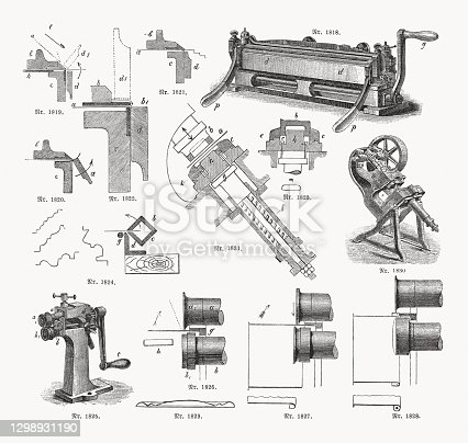 istock Sheet metal processing, wood engravings, published in 1893 1298931190