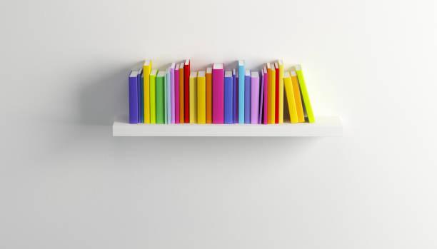 shelf with multicolored books vector art illustration