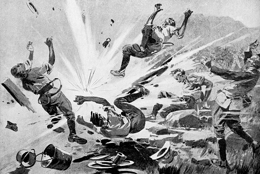 Shell Exploding on the 18th Hussars at the Siege of Ladysmith during the Second Boer War in South Africa - 19th Century