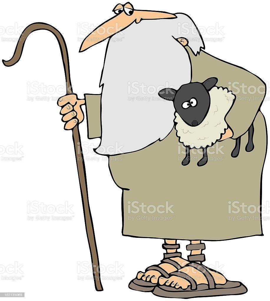 Shepherd Holding A Lamb vector art illustration