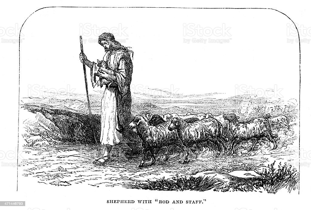 Shepherd with sheep, rod and staff from 1880 journal vector art illustration