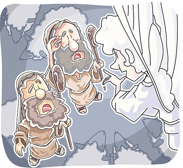 Shepherds and the Angel vector art illustration