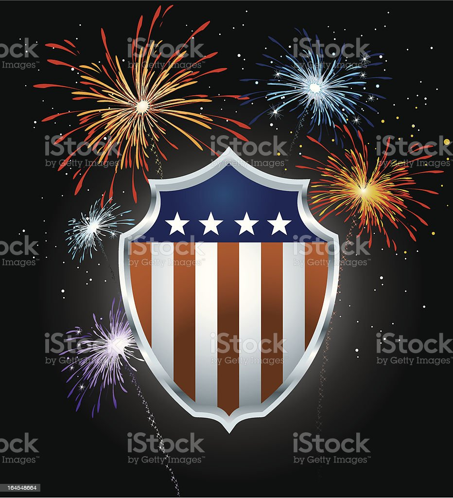 USA Shield and Fireworks royalty-free stock vector art