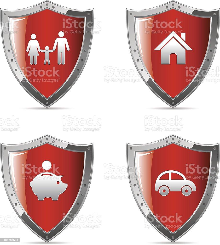 Escudo de protecção Social Ícones / - ilustração de arte em vetor