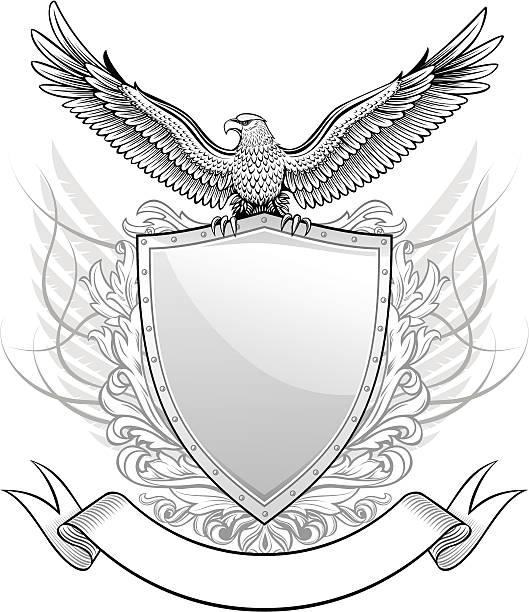 Placa con Eagle insignias - ilustración de arte vectorial