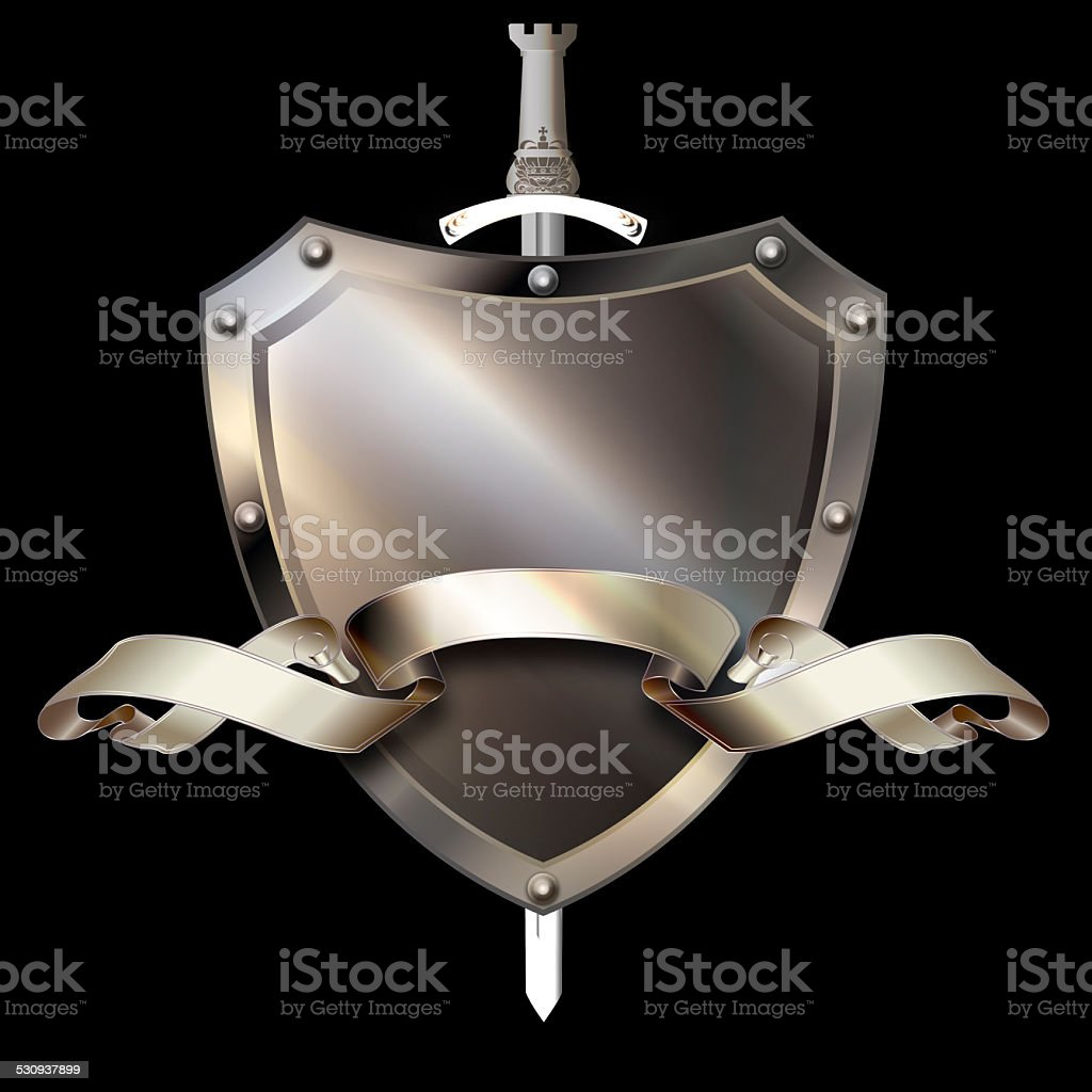 Shield with ribbon and sword. vector art illustration