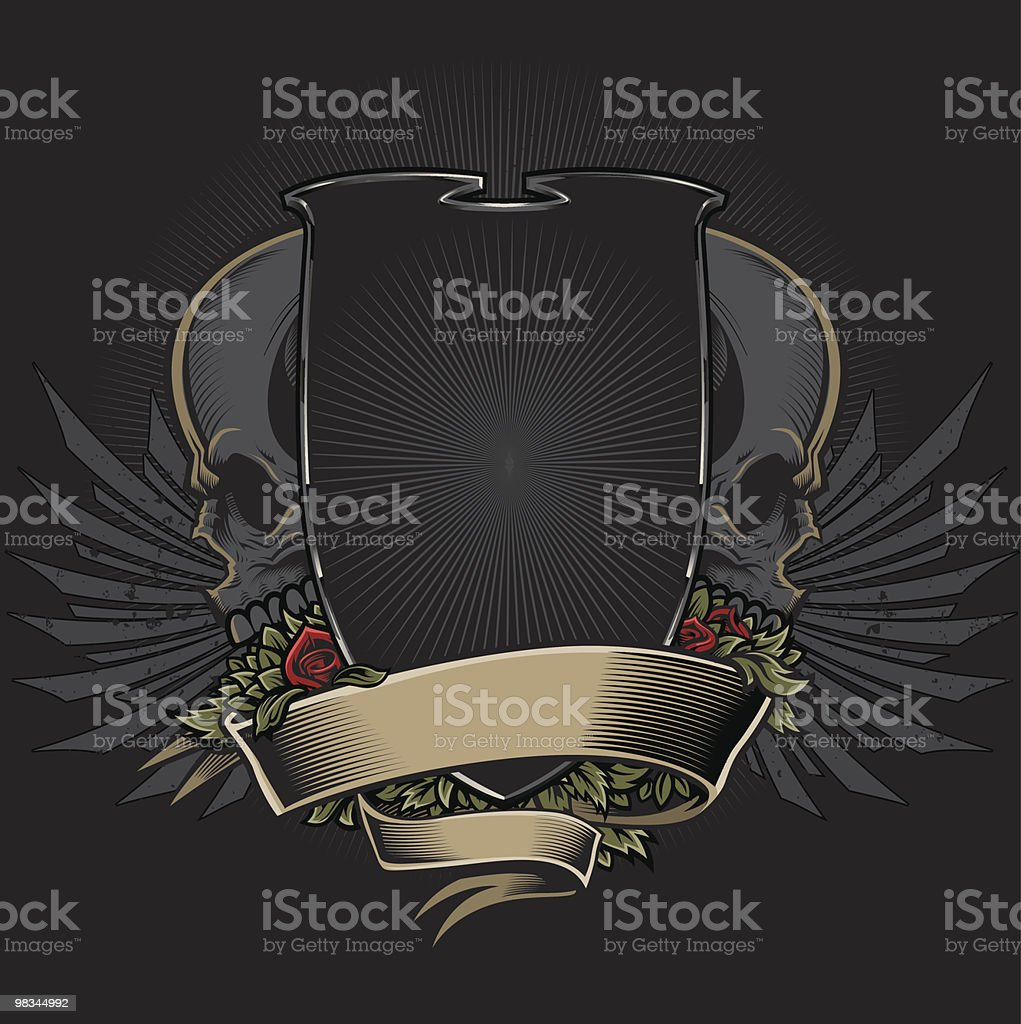 Shield with Skulls, Roses, Wings and Banner Design royalty-free shield with skulls roses wings and banner design stock vector art & more images of absence