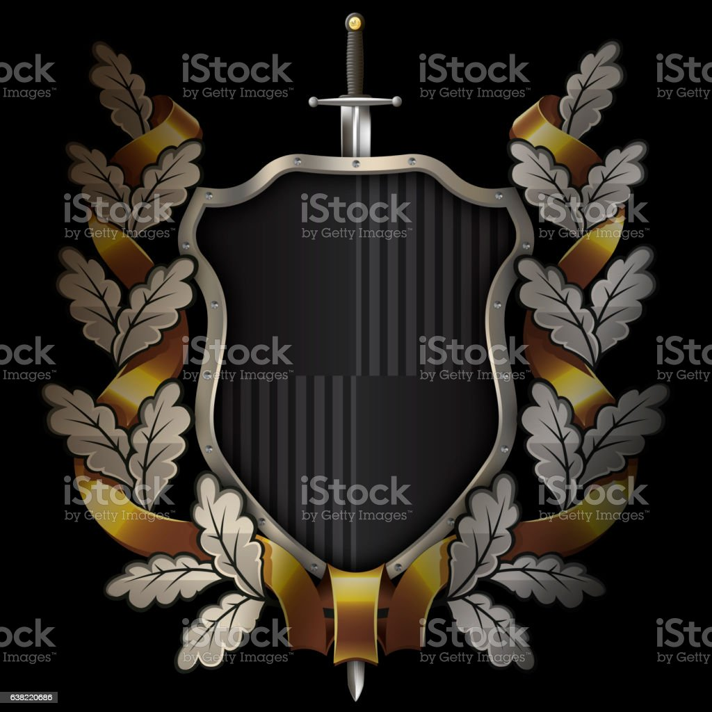 Shield with sword and oak wreath,gold ribbon. vector art illustration