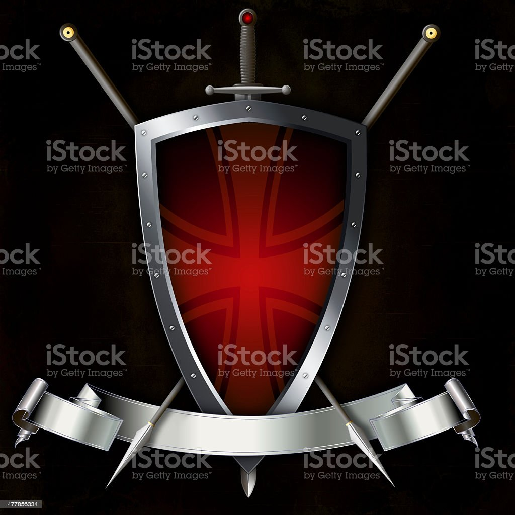 Shield with sword and two spears. vector art illustration