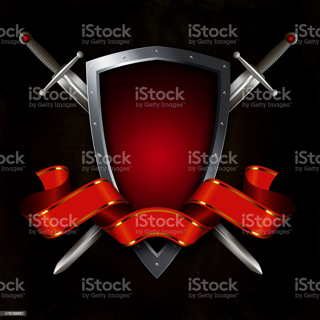 Shield with swords and red ribbon. vector art illustration