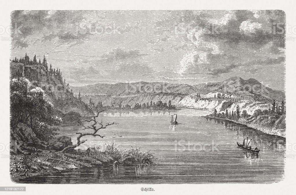 ロシア南東部のシルカ川木彫1893年に出版 - 19世紀のベクターアート ...
