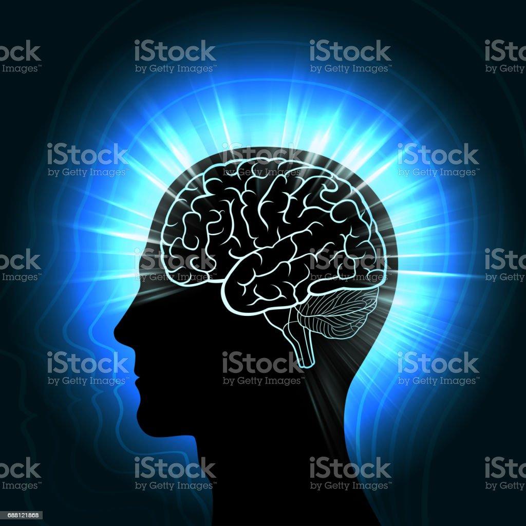 Scheint Ein Menschlicher Kopf Mit Einem Glühenden Umriss Des Gehirns ...