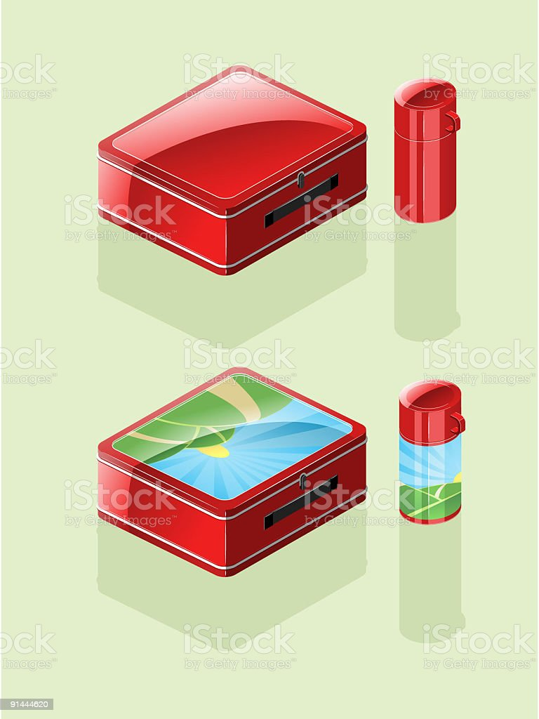 Shiny 80's lunch box and thermos (Vector) royalty-free stock vector art