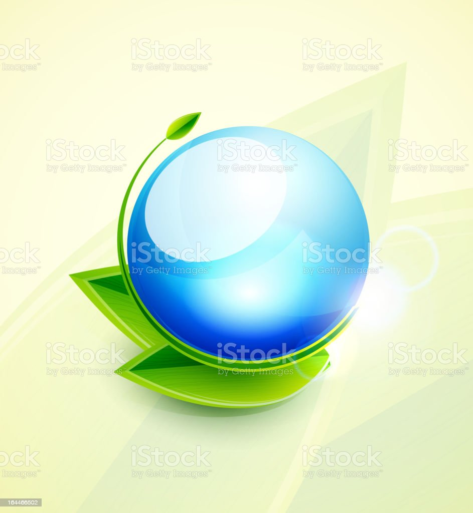 Shiny blue globe with green leaves royalty-free stock vector art