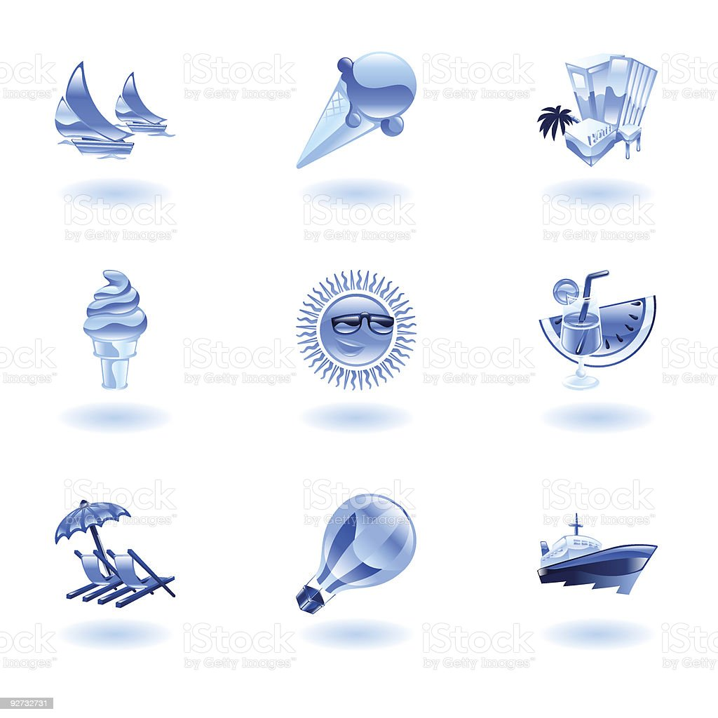 Shiny blue summer icons royalty-free stock vector art