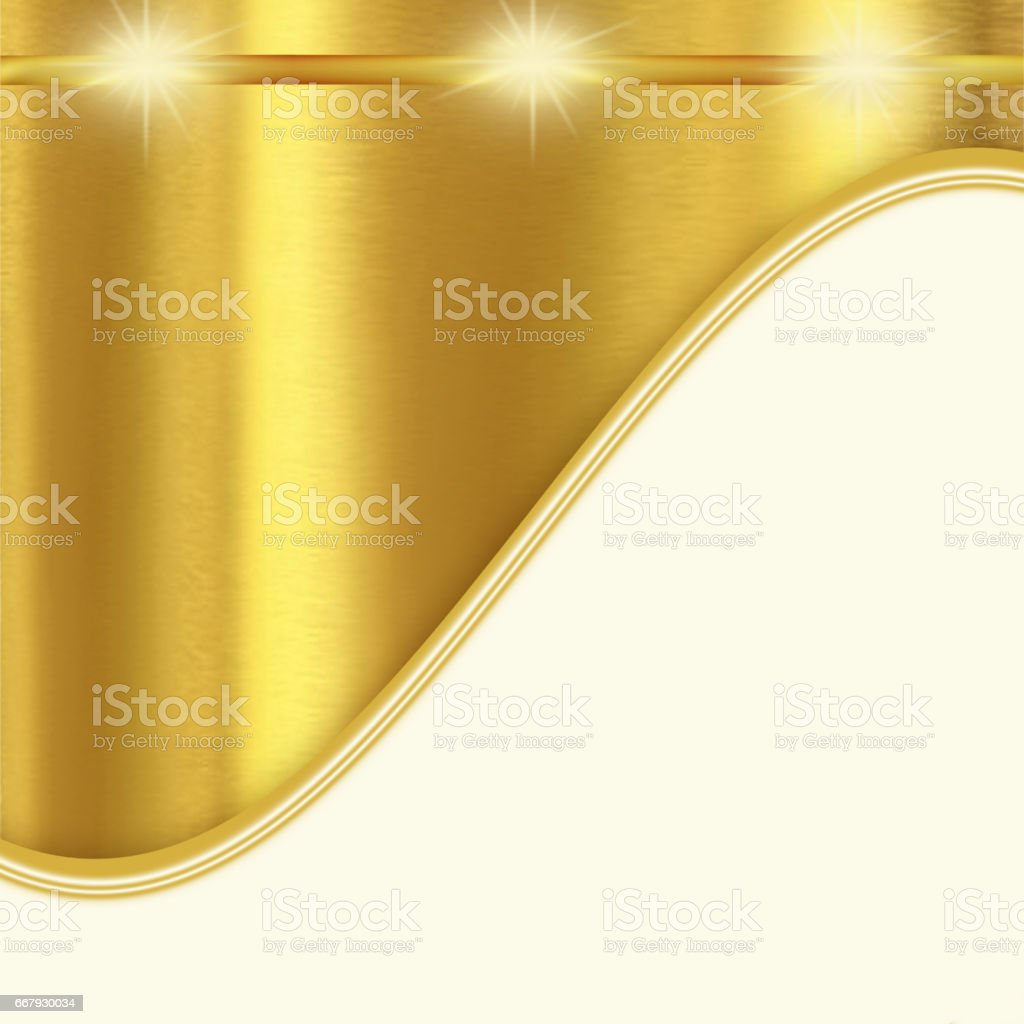 Shiny golden and white background with curves vector art illustration