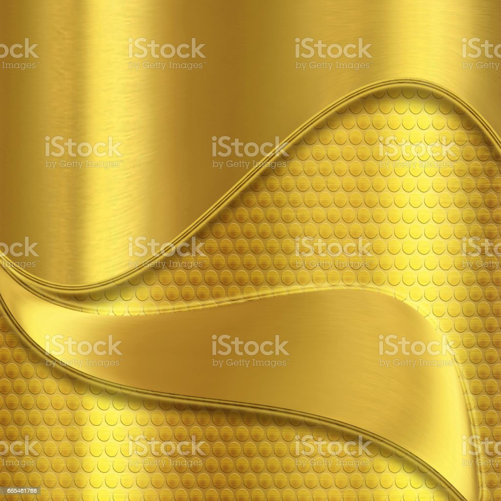 Shiny golden background with curves vector art illustration