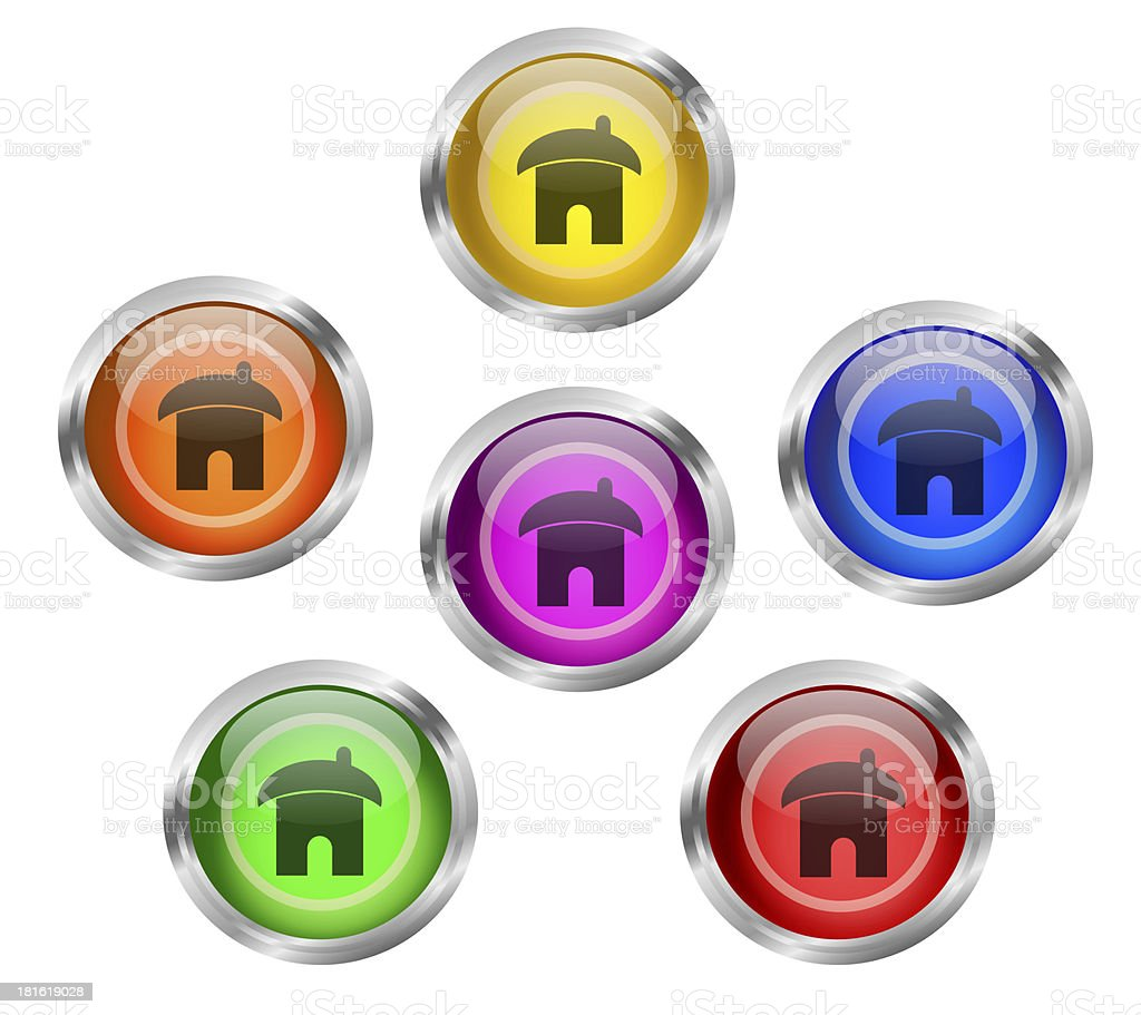 Shiny Home Icon Buttons royalty-free stock vector art