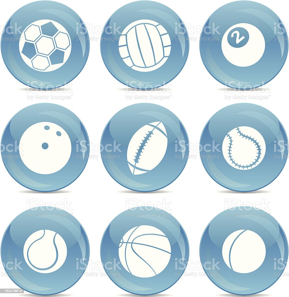 shiny icon set of sport balls