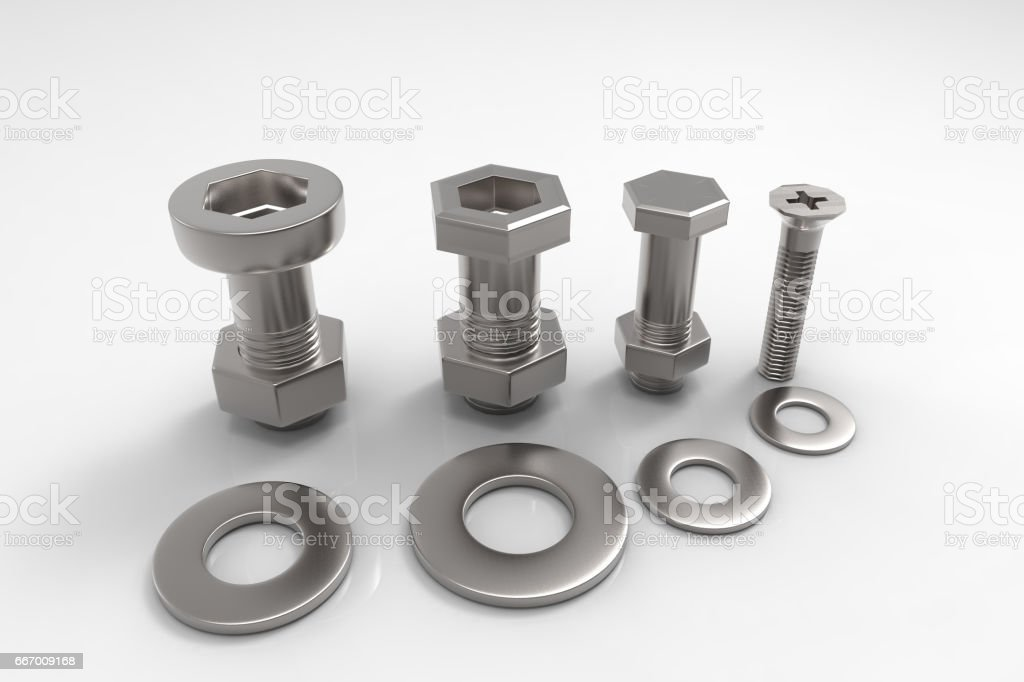 Shiny metal bolts isolated on white background with reflection effect. 3D rendering. vector art illustration