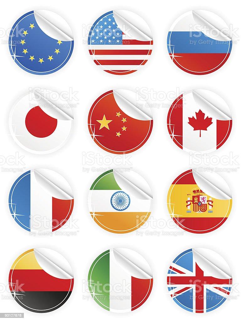 Shiny peeling national icons royalty-free stock vector art