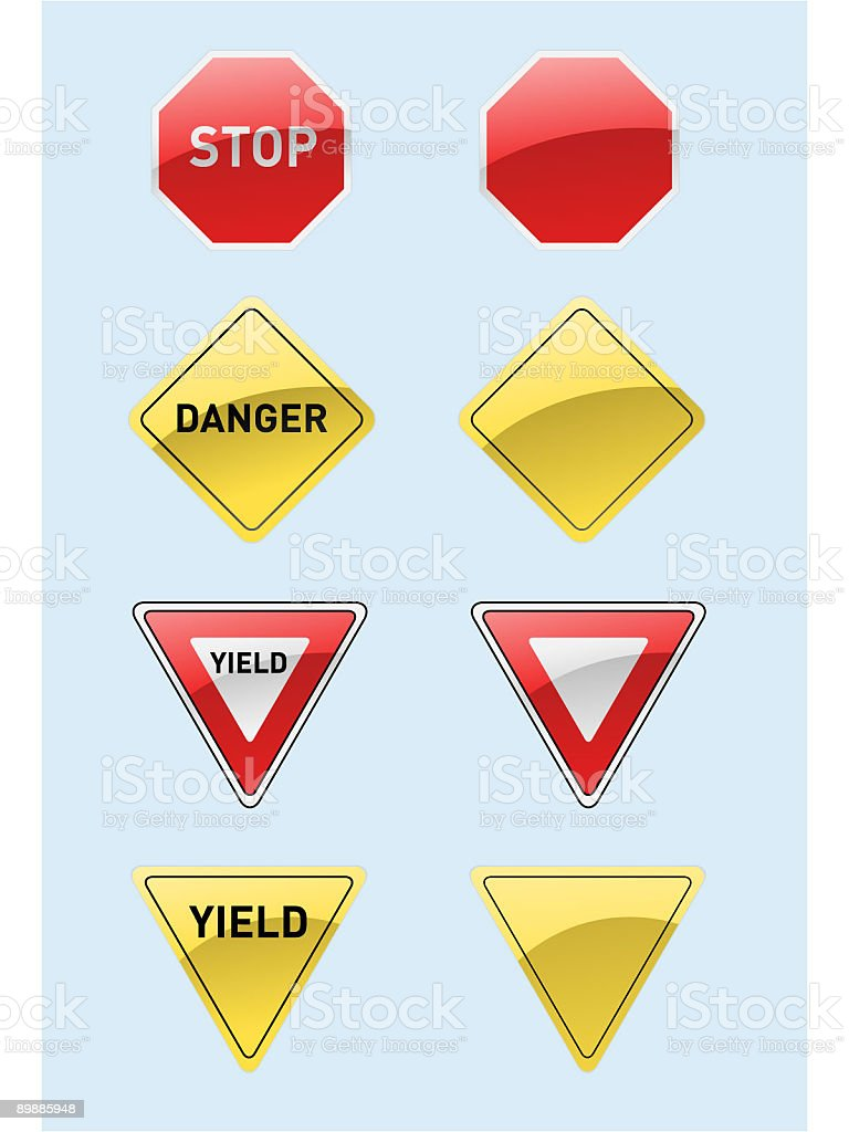 Shiny Stop and Yield Signs (Vector) royalty free shiny stop and yield signs stockvectorkunst en meer beelden van gevaar
