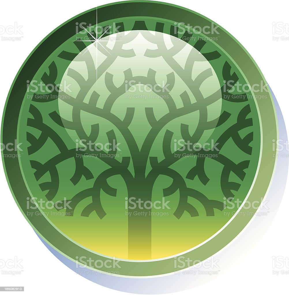 Shiny tree button royalty-free stock vector art