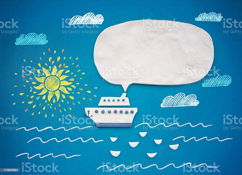 Ship and speech bubble of plasticine or clay. vector art illustration