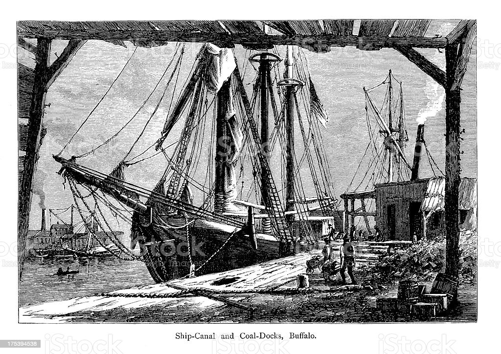 Ship Canal and Coal Docks, New York | Historic Illustrations royalty-free stock vector art