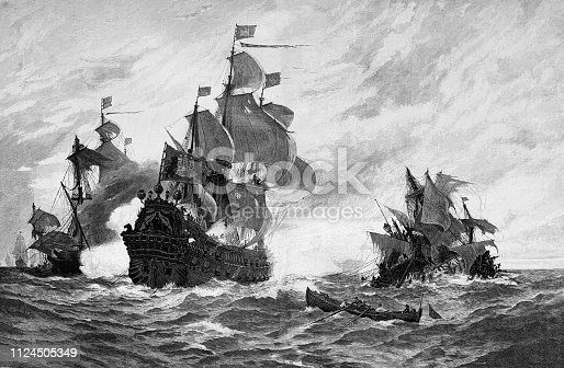 istock A ship from Hamburg defeats 5 French pirate ships 1124505349