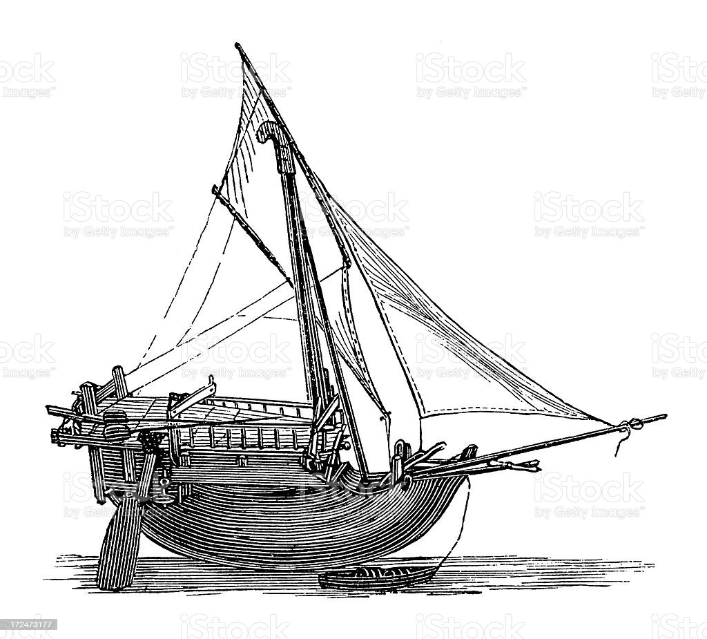 Ship from Sulawesi (antique wood engraving) vector art illustration
