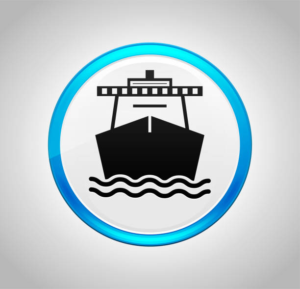 Ship icon round blue push button vector art illustration