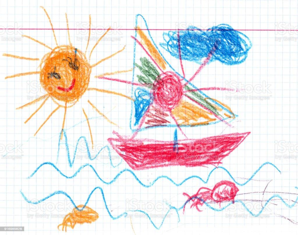 Ship illustration baby drawn style vector art illustration