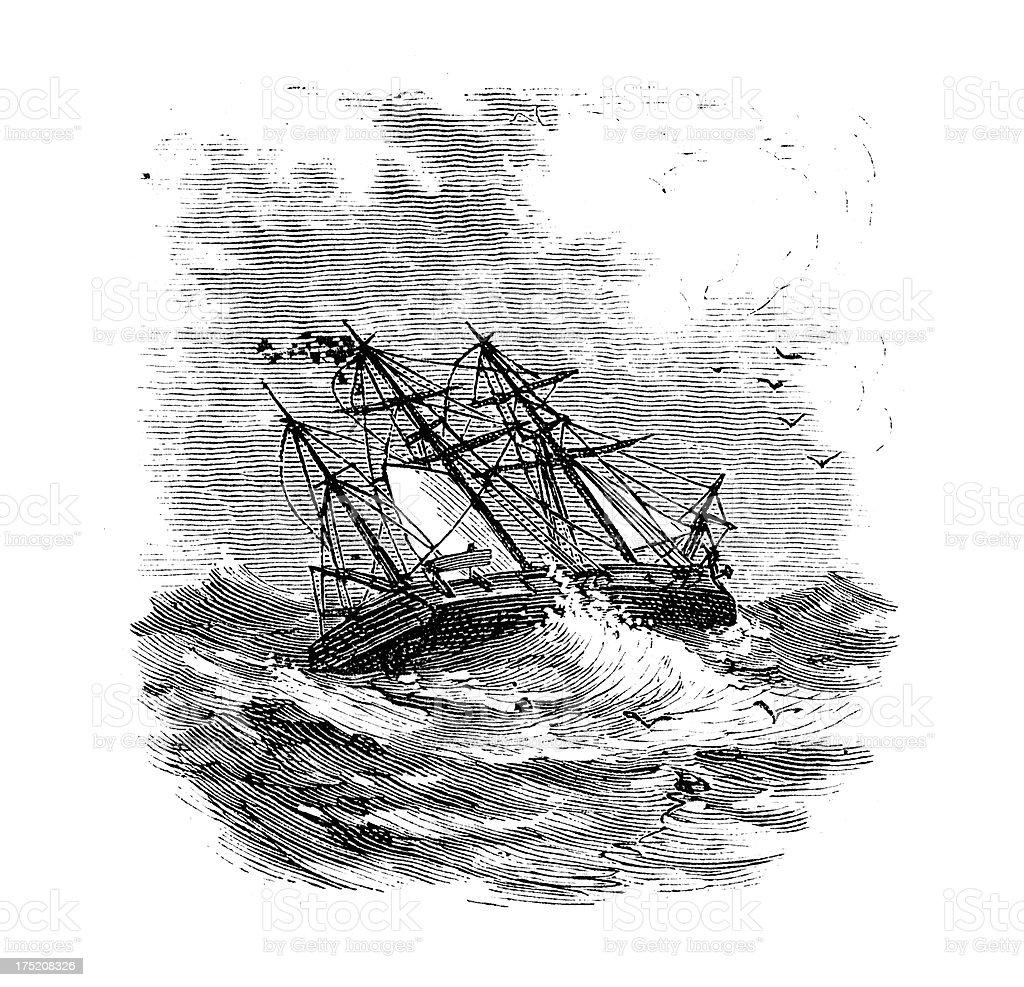 Ship in a Storm vector art illustration