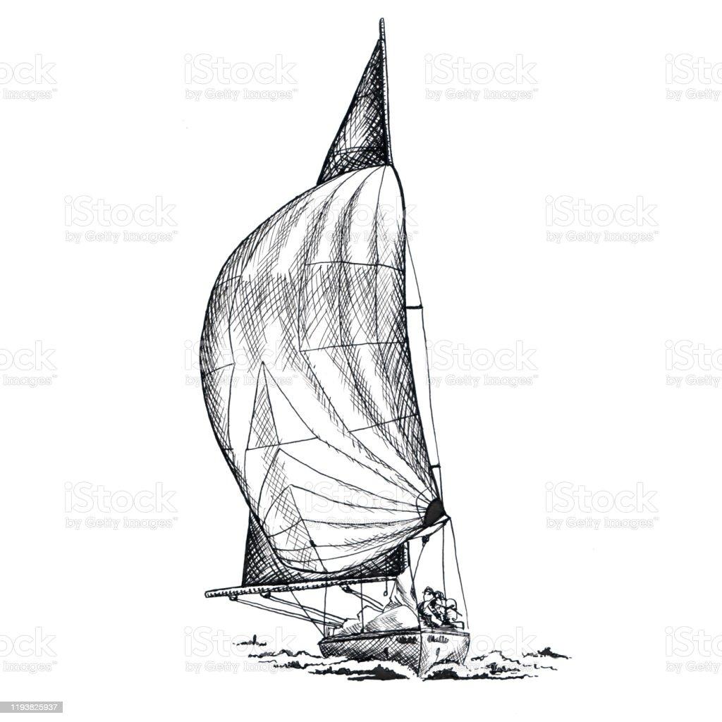 Illustration Antique De Dessin Dencre Noire De Bateau De Bateau De