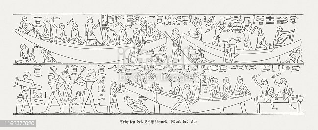 Shipbuilding in ancient Egypt. Ancient Menfi, Saqqara Necropolis Mastaba of Ti, Old Kingdom, Dynasty V, ca. 2400 BC. Wood engraving after an ancient relief, published in 1879.