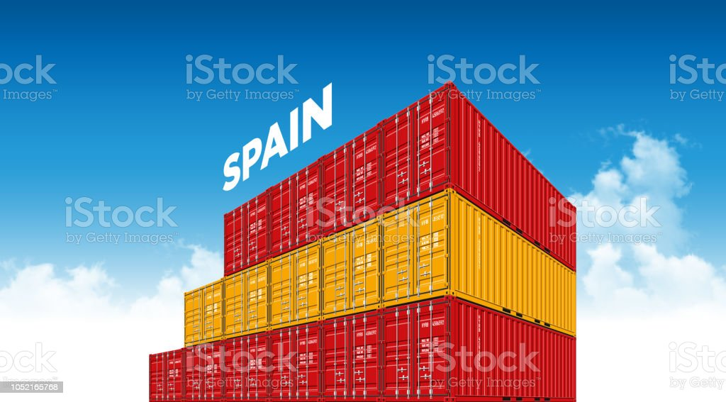aa3cd2b80a4264 Shipping Cargo Container Spain Flag Stock Vector Art   More Images ...