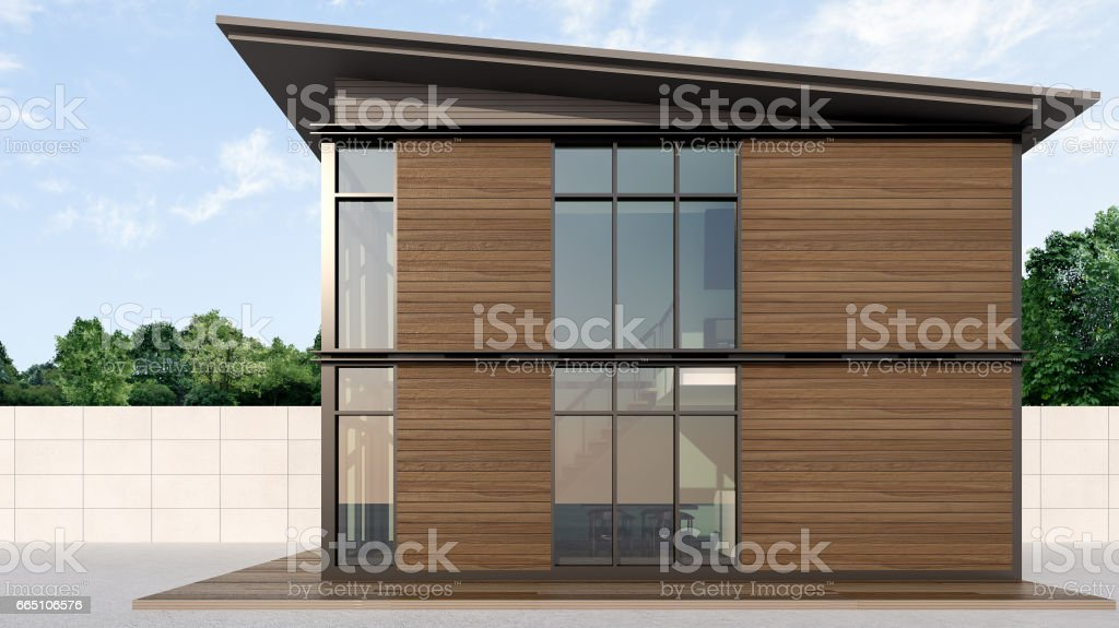 Shipping Container Homes , 3d rendering vector art illustration