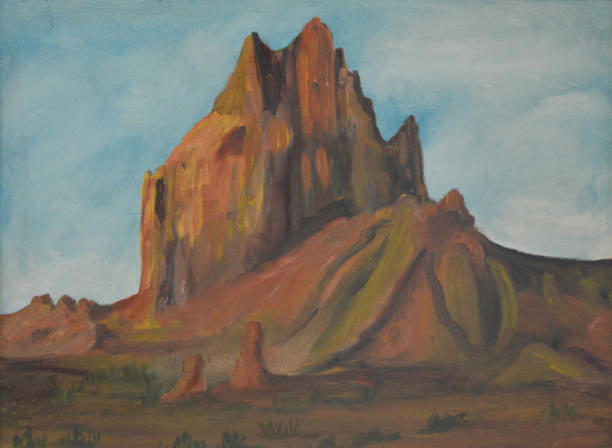 shiprock - oil painting stock illustrations