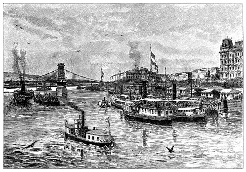 Ships on the Danube with Budapest