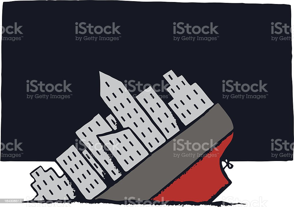 Shipwreck vector art illustration